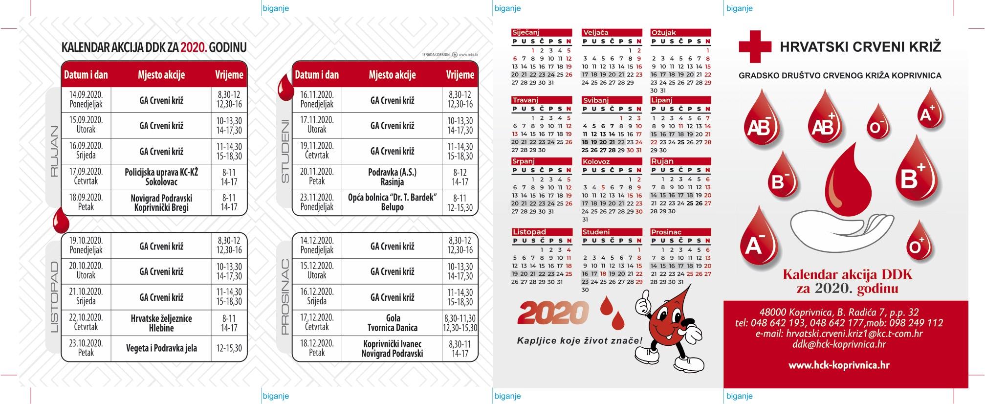 Kalendar za darivatelje krvi