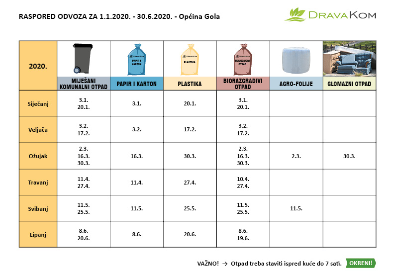 Raspored odvoza Raspored odvoza otpada za 1. do 6. mjesec 2020.