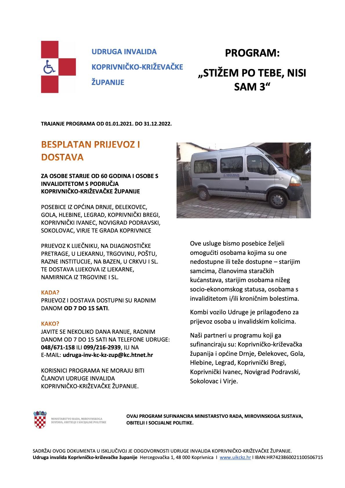 """Program """"Stižem po tebe – nisi sam 3"""" –besplatni prijevoz i dostava za osobe starije od 60 godina i osobe s invaliditetom s područja Koprivničko-križevačke županije"""